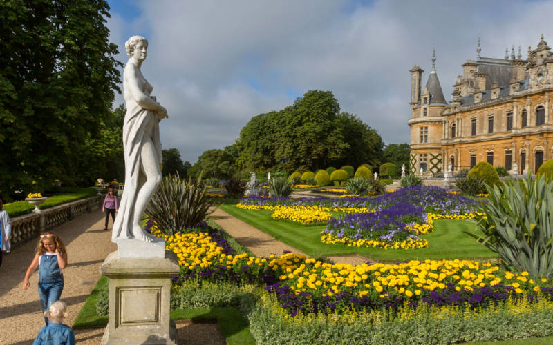 Visitors in the parterre in summer