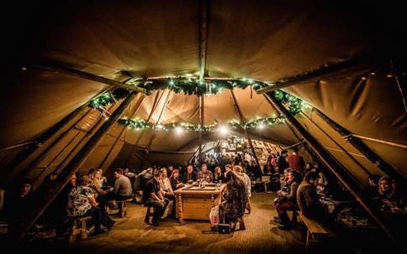 Interior of a cosy Christmas wigwam