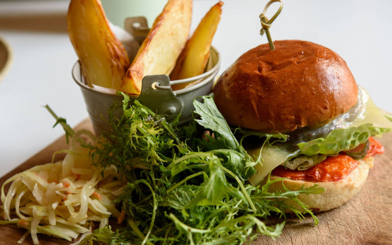Homemade beef burger, Stables Café