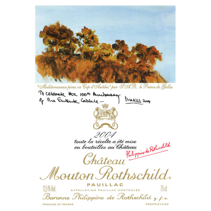 Label for the 2004 Mouton vintage designed by HRH Prince of Wales