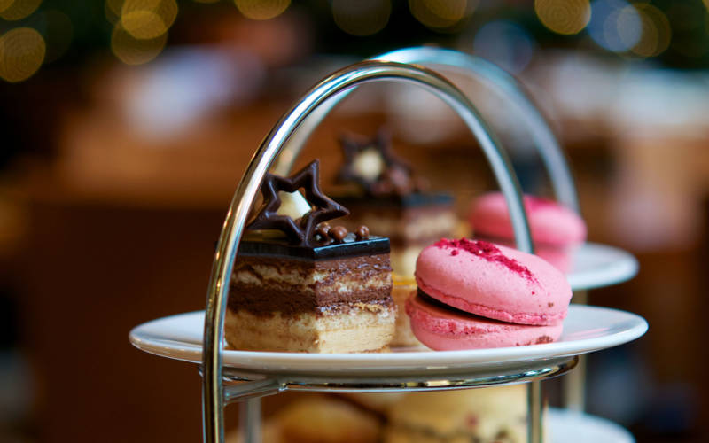 Close up view of delicate patisserie in our afternoon tea
