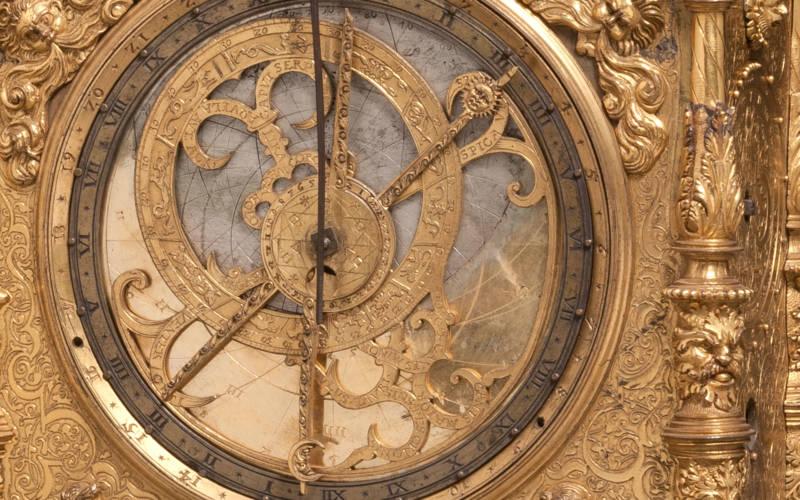 Upright rectangular astronomical clock.
