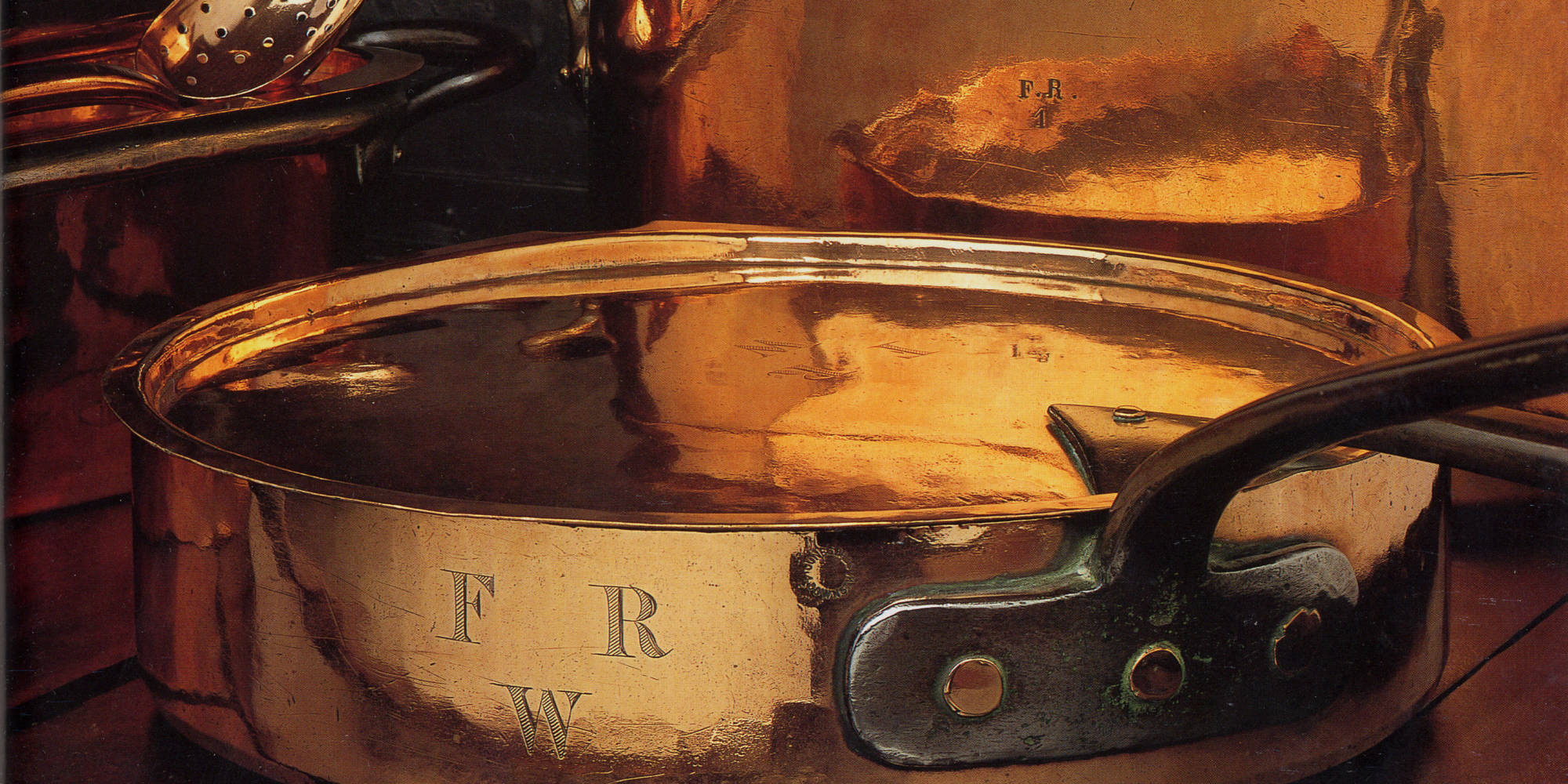 Copper pans bearing the initials of Baron Ferdinand