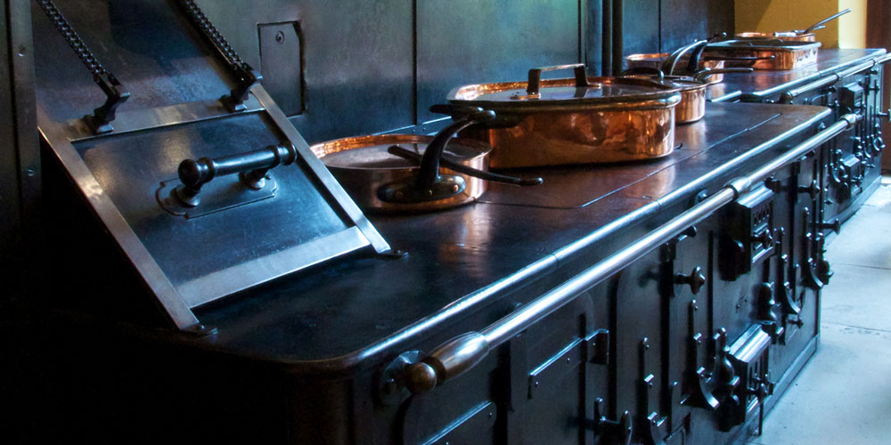 The original kitchen range which can still be seen in what is now the Manor Restaurant