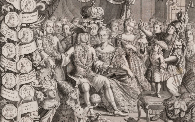 Almanac: Louis XV, the Queen, the Dauphin surrounded by courtiers and other nations with a family tree of French kings, 1734, acc. no. 2669.3.17