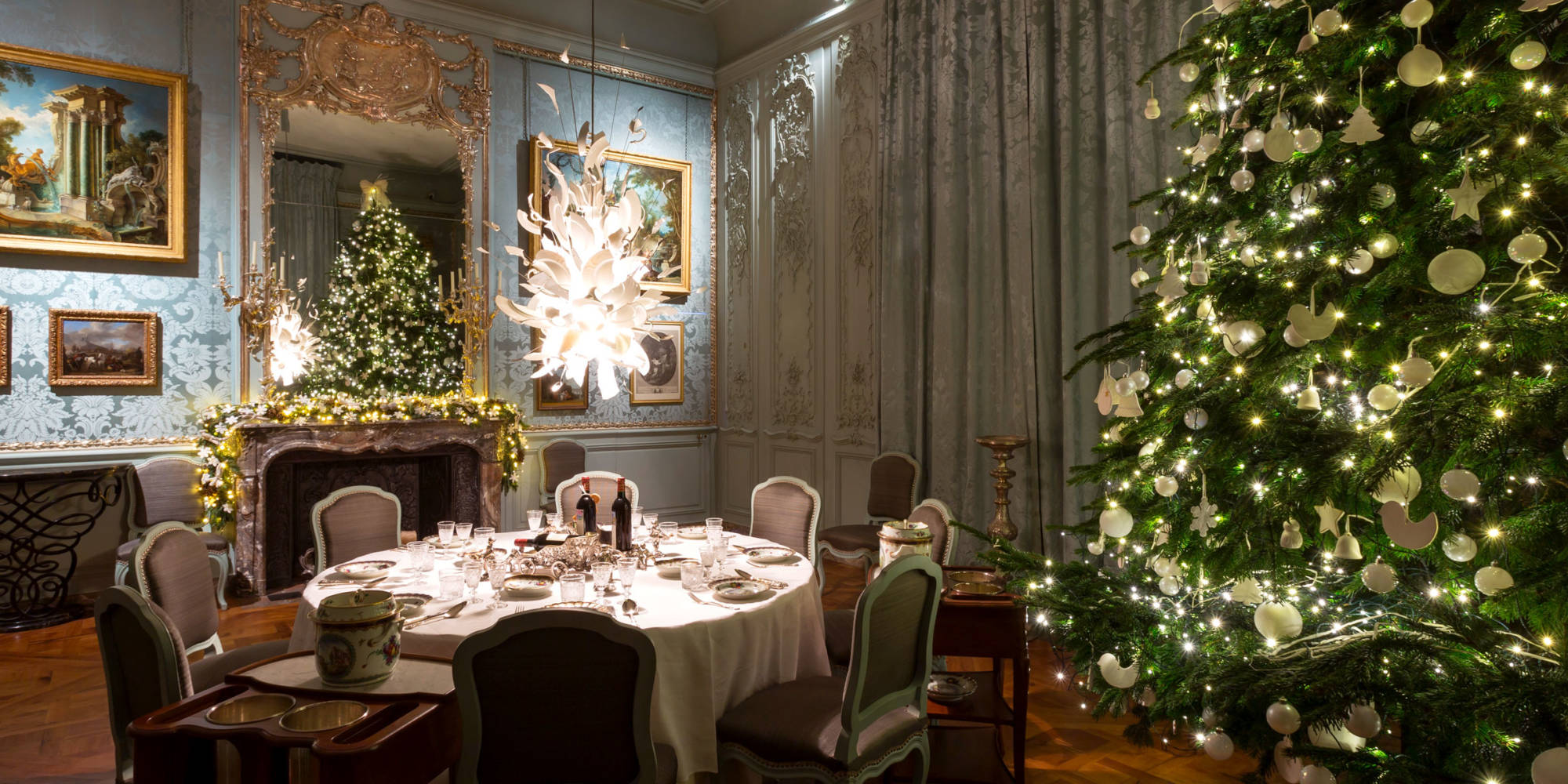 Blue Dining Room decorated for Christmas