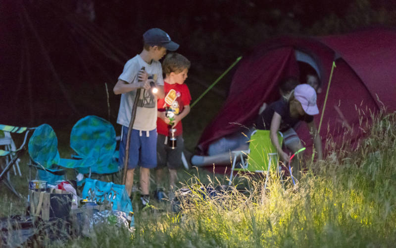 Family camping at National Trust property