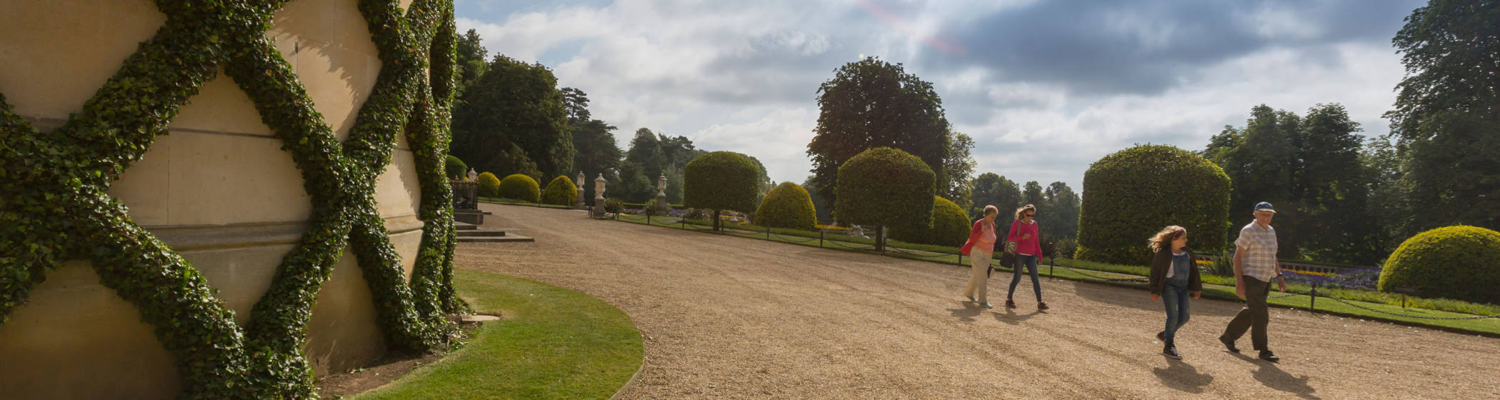 Visitors walking around the grounds