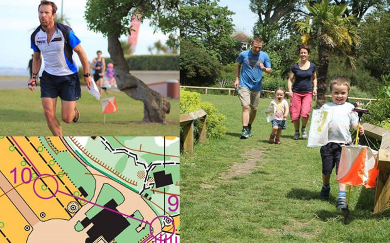 montage of images showing orienteering