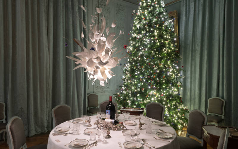 Blue Dining Room decorated for Chrismtas