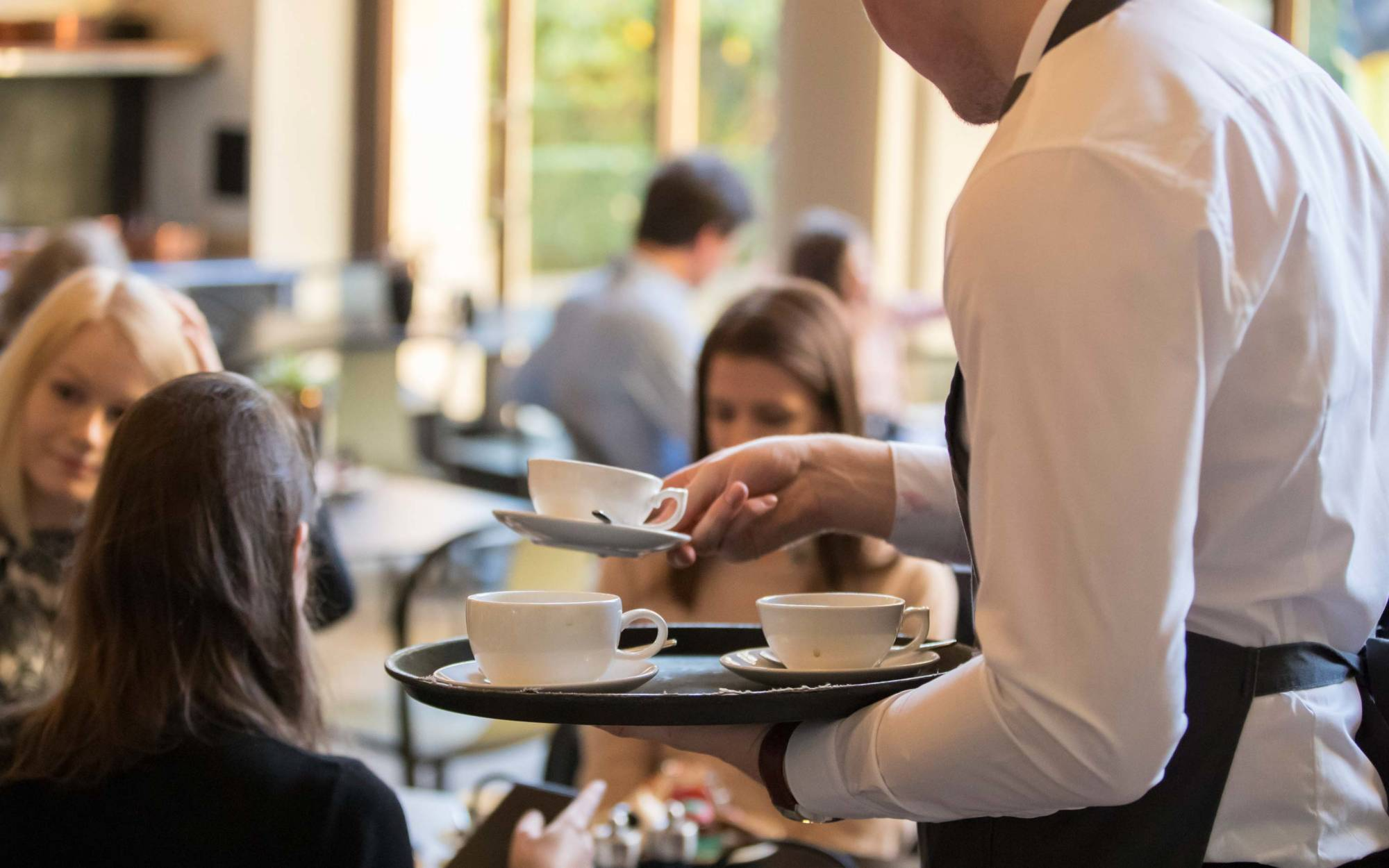 Tea being served in the Manor Restaurant
