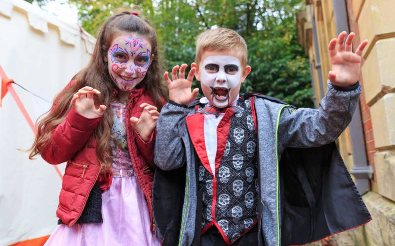 Kids with Halloween face painting