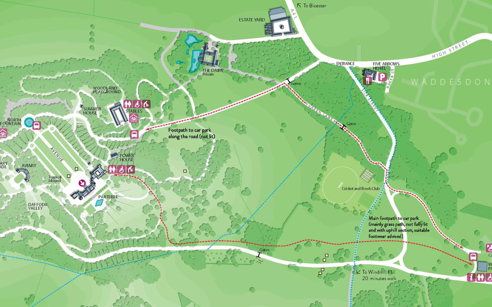 Grounds map showing bike sheds
