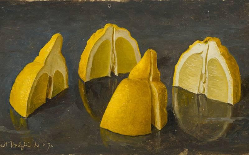 Painting of cut lemon