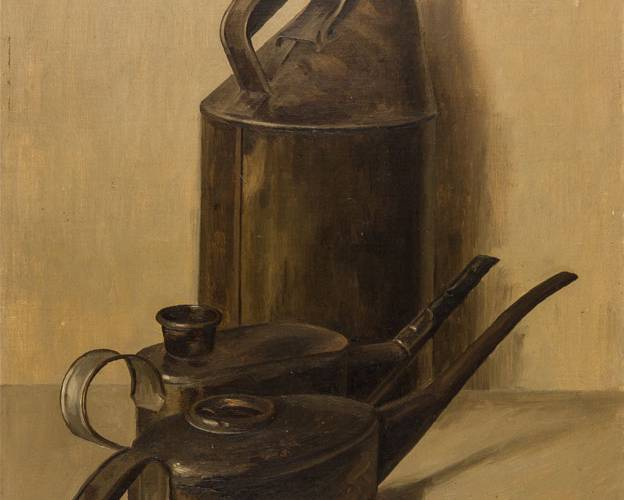 Painting of three oil cans