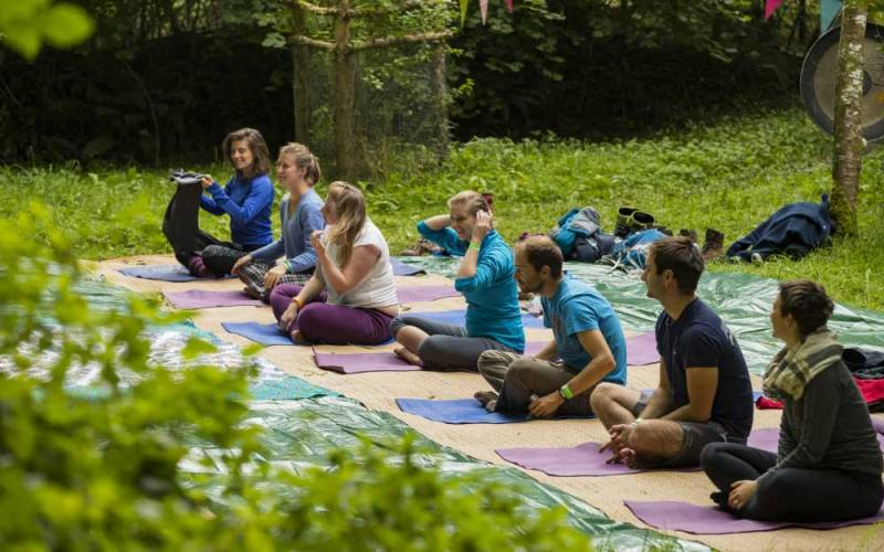 An outdoor yoga session