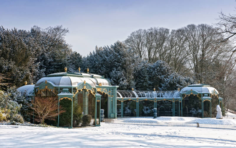 Aviary covered in snow