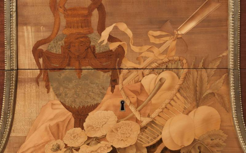 Marquetry design on a piece of Jean-Henri Riesener furniture