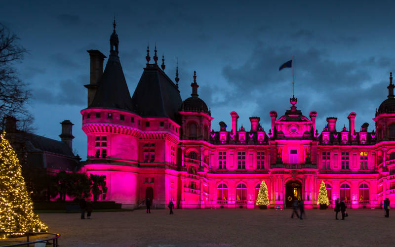 Christmas light show at Waddesdon