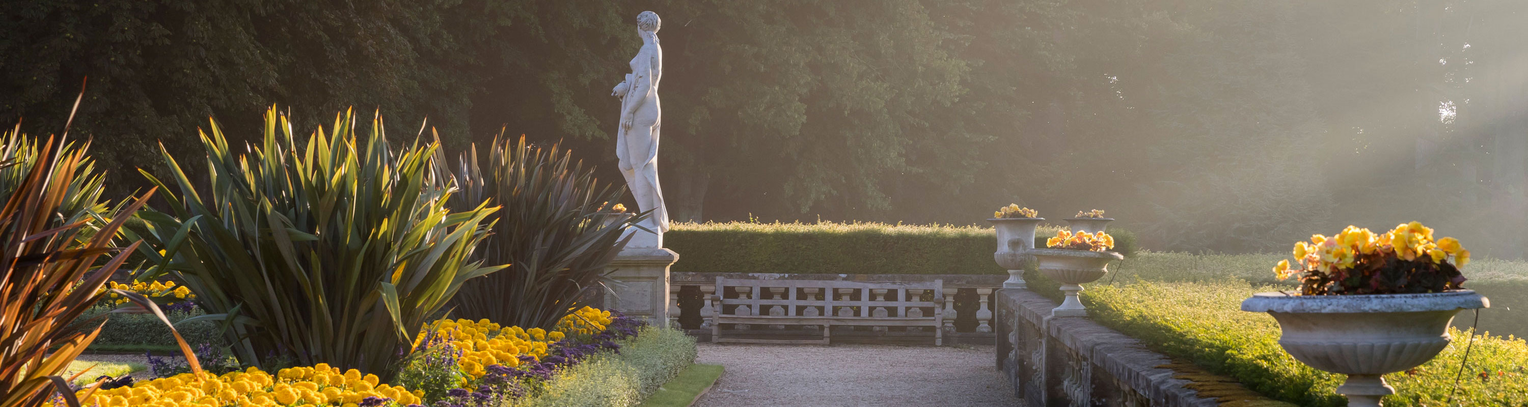 Parterre walkway at sunrise