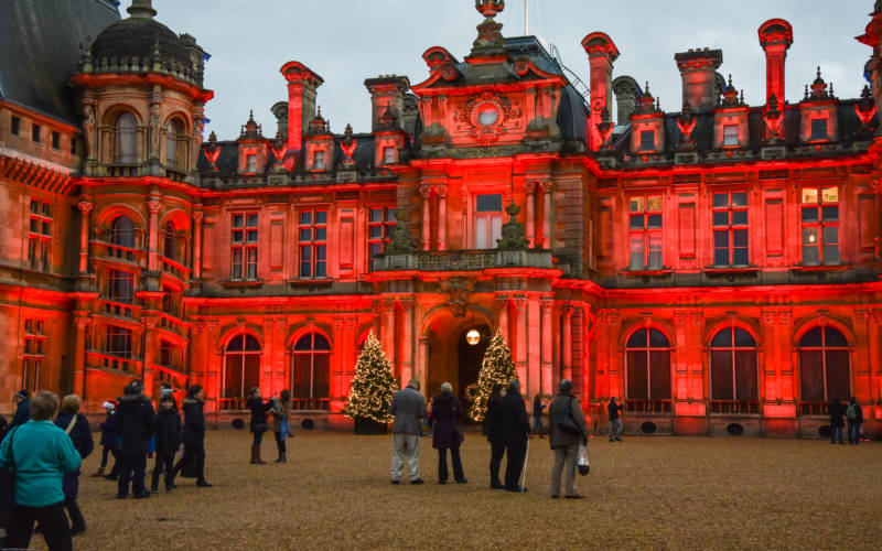 Red Christmas light projection 2015
