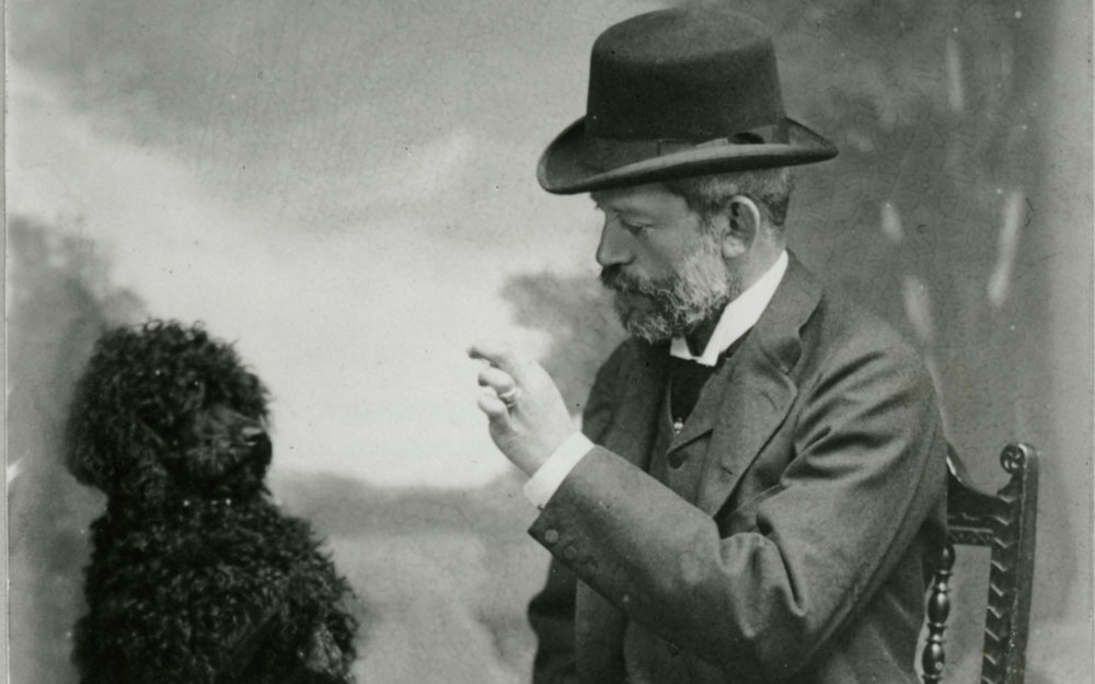Baron Ferdinand with his beloved dog Poupon.