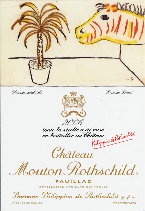 A Wine label showing a giraffe designed by Freud