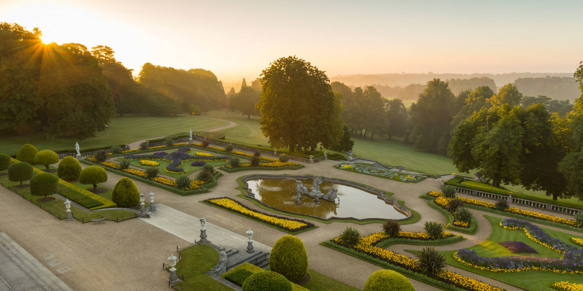 Birds eye view of parterre gardens