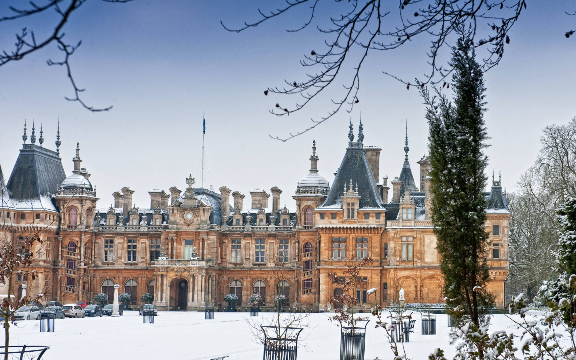 Waddesdon Manor North Front covered in snow
