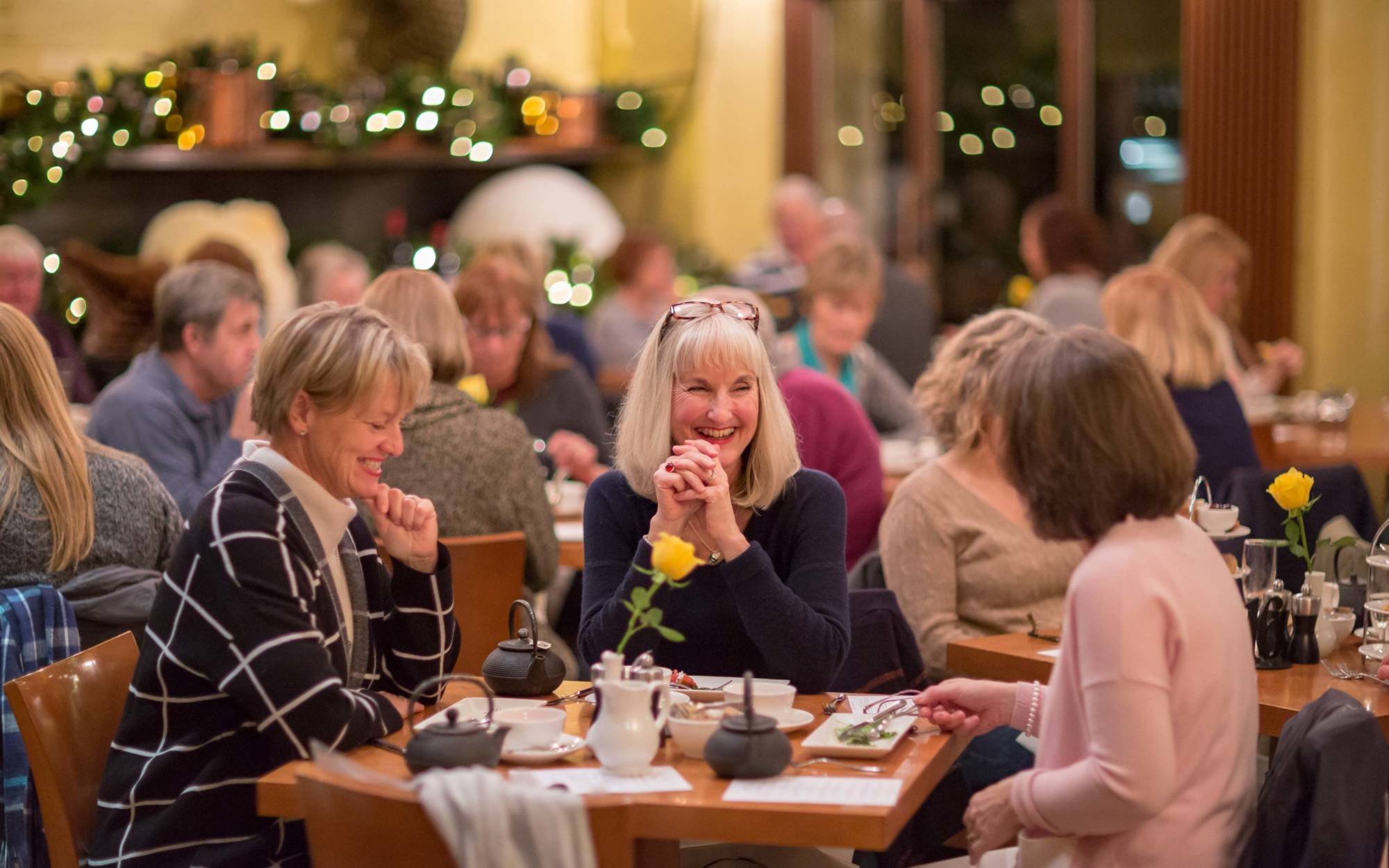 Visitors enjoying a festive afternoon tea in the Manor Restaurant