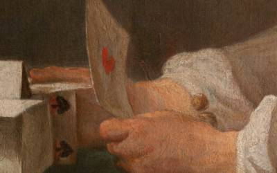 Detail of hands and deck of cards by Chardin