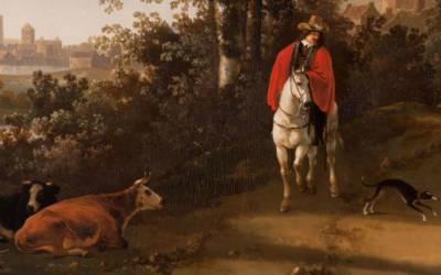 Detail by Cuyp of horseman, cows and dog, with city in background