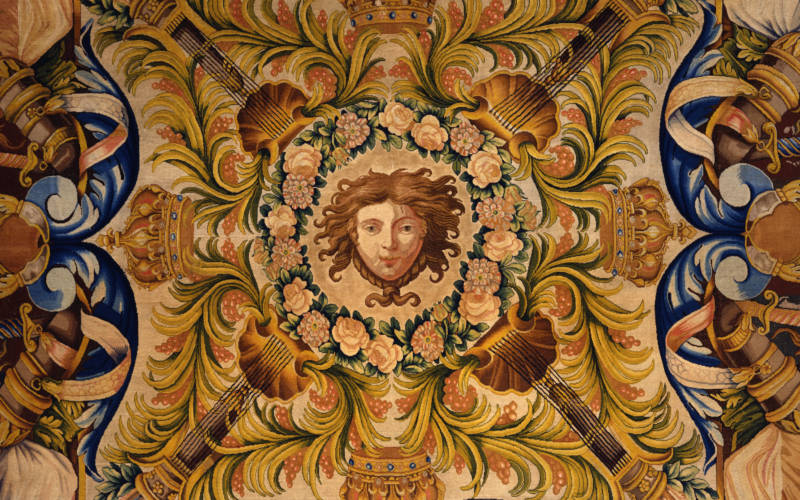 Savonnerie carpet with the head of Apollo, the Sun God, in the central cartouche.