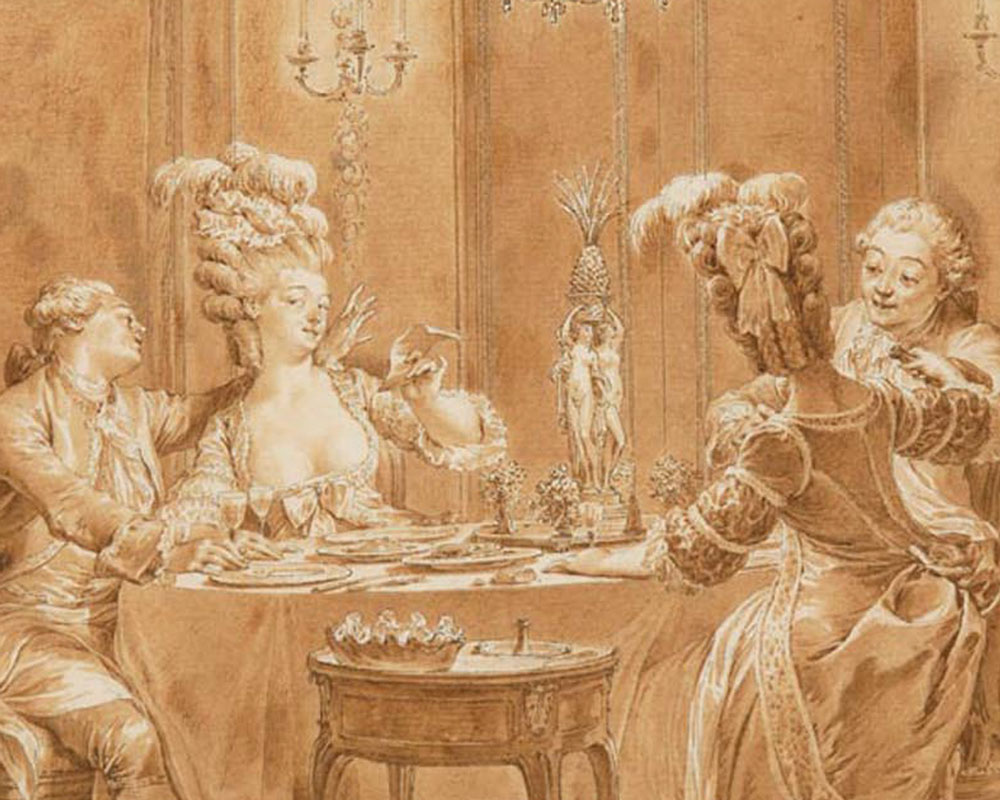 Interior scene of a lavish supper party