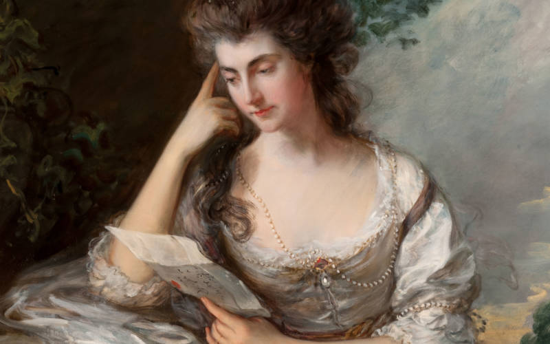 Full-length oil portrait of Mrs John Douglas (Frances Browne), seated and reading a lette