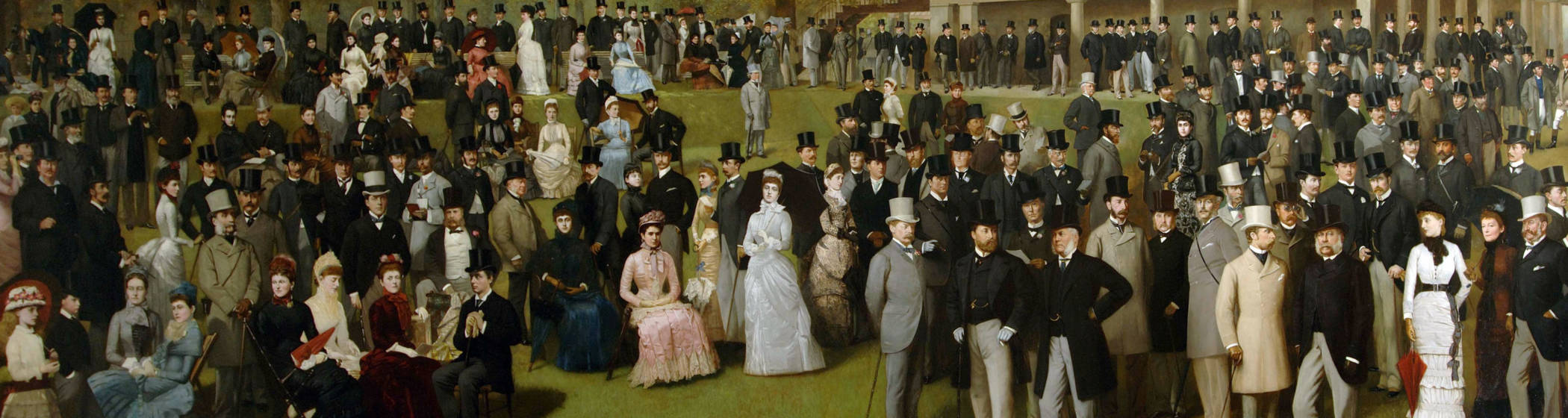 An oil painting of People on the lawn at Godowood including various Rothschilds.