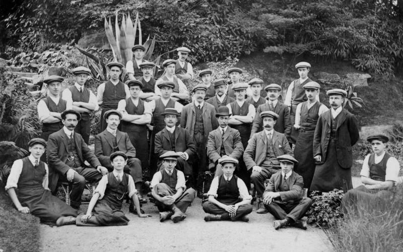 Gardeners at Waddesdon, black and white