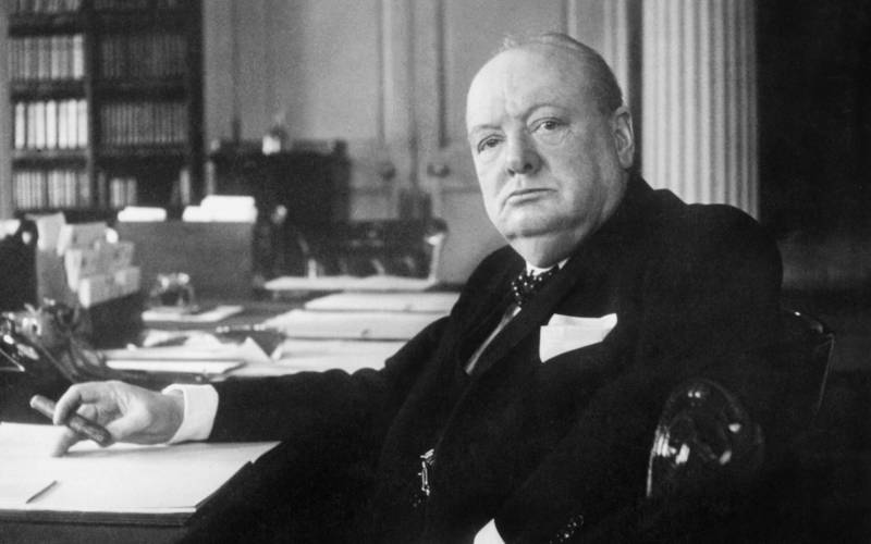 Winston Churchill at his desk