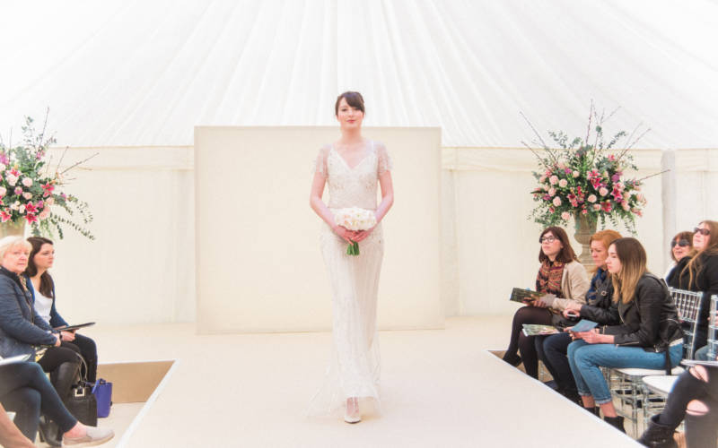 Bride on the catwalk at Waddesdon Wedding Inspiration day
