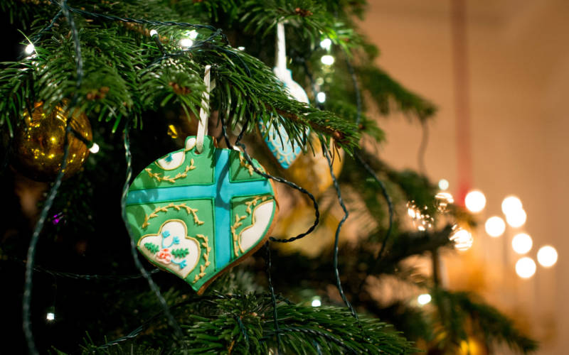 Christmas tree with decorated gingerbread bauble