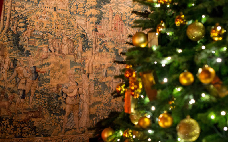 Christmas tree in front of tapestry