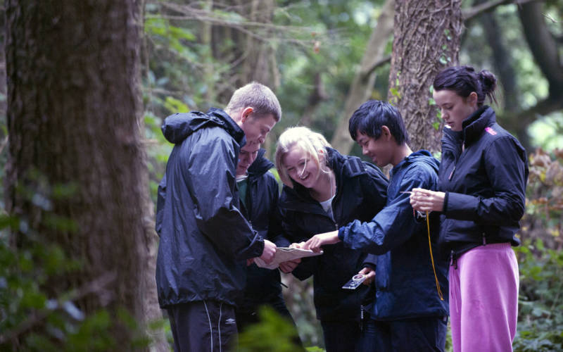 Group of friends orienteering