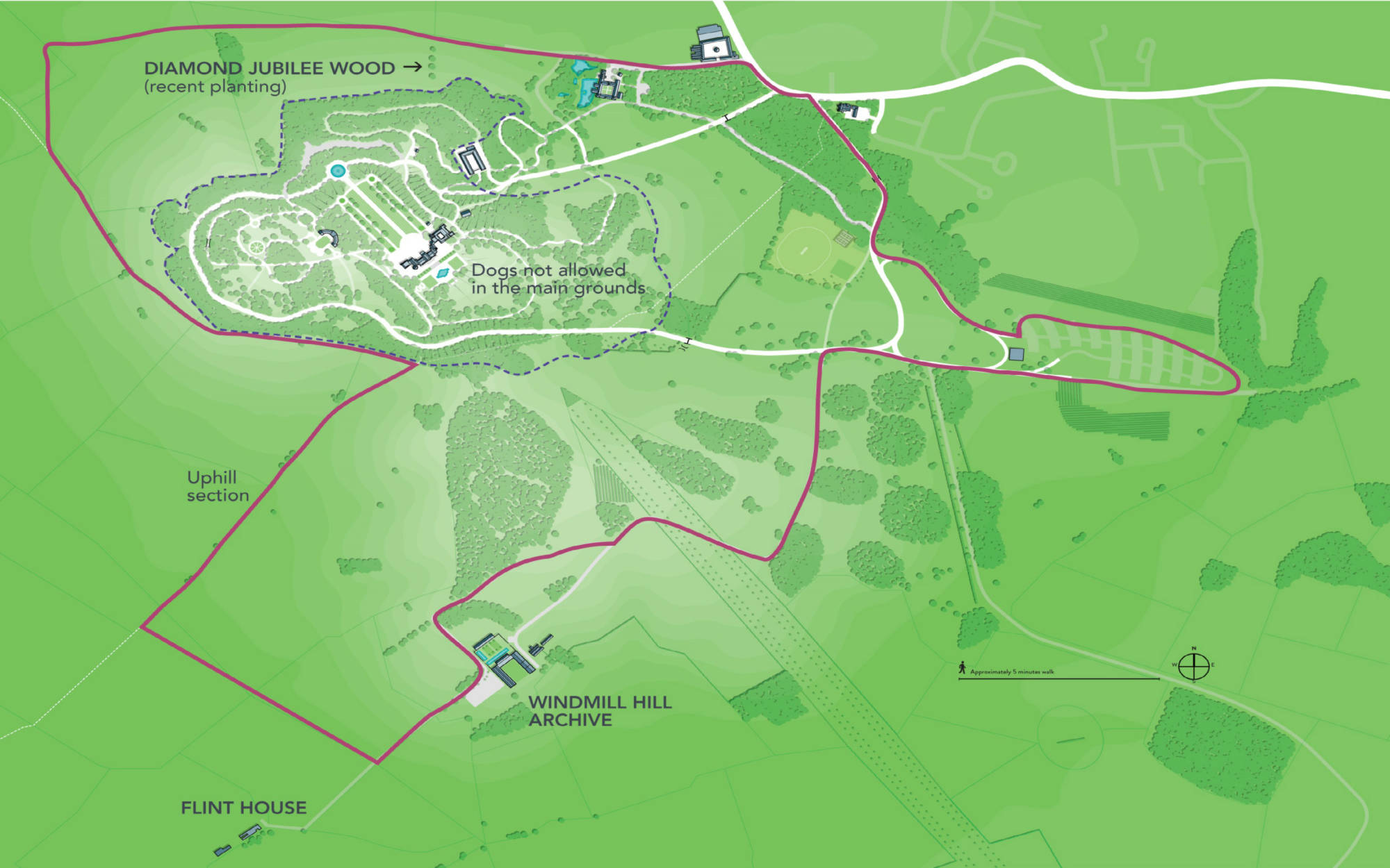 Map for the Hygge hike dog walk with points of interest