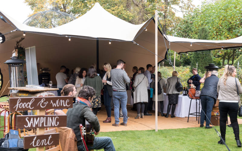 Wedding inspiration, food sampling tent outdoors