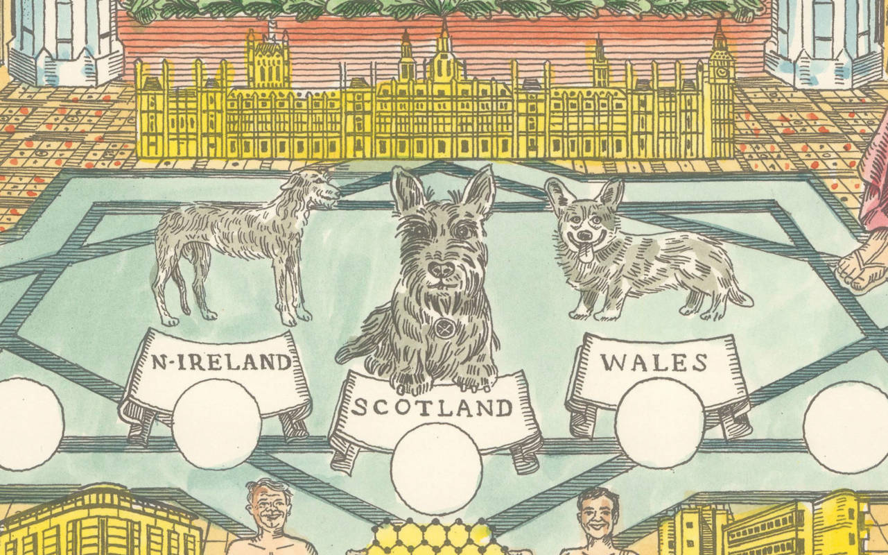 Nations of the Union, detail from The Mother of Parliaments: Annual Division of Revenue by Adam Dant, 2017