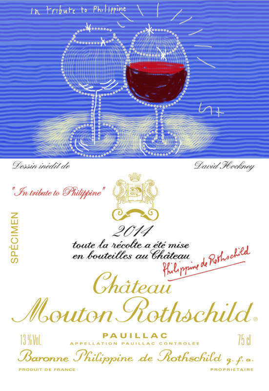 Château Mouton Rothschild 2014 wine label designed by David Hockney