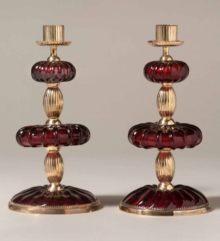 Ruby glass candlestick