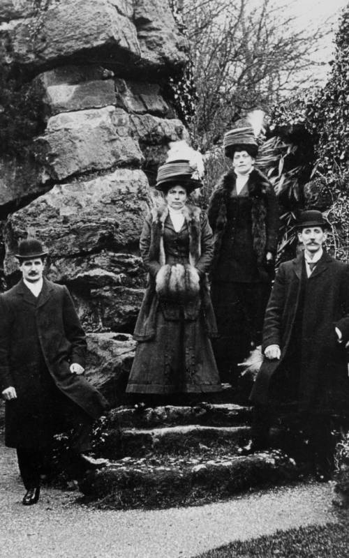 Visitors on the Pulham Rocks, early 20th century