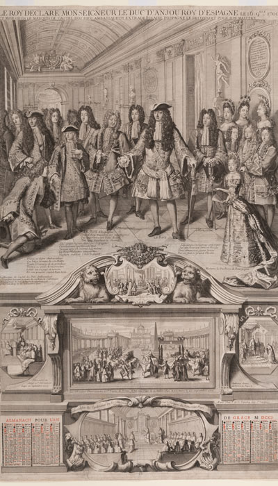 François Landry, Gabrielle Landry, Almanac Titled: 'The King declares the Duke of Anjou the King of Spain', 1701; Waddesdon (National Trust); acc. no. 2669.4.13