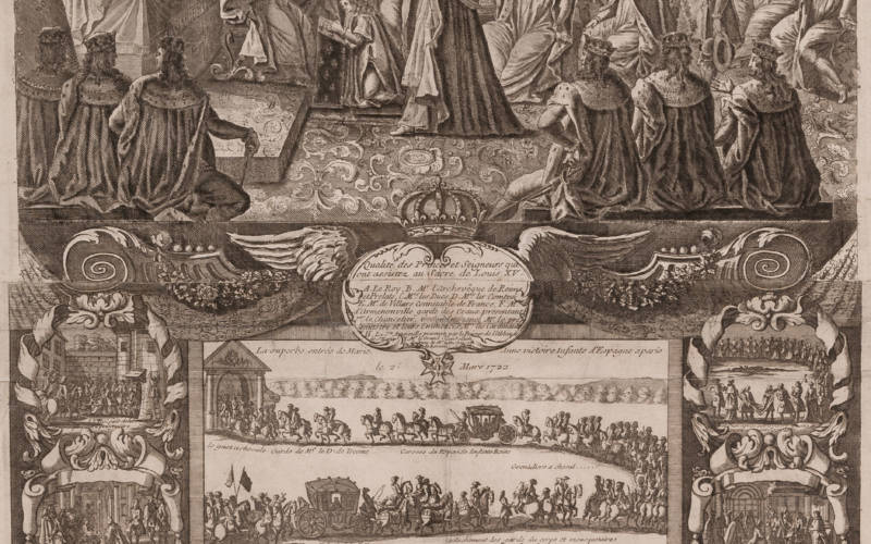 François-Gérard Jollain, Almanac Titled: 'The august ceremony of the coronation of Louis XV. King of France and of Navarre', 1723; Waddesdon (National Trust); acc. no. 2669.3.16.